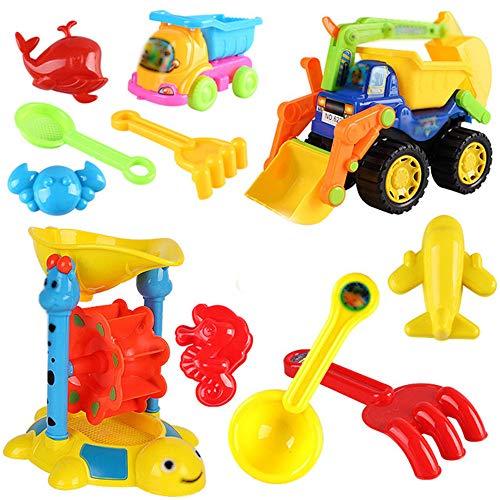 Early Educational Toddler Toys Set of 5 Beach Toy Set-Mesh Backpack Bag-Shovel,Shovel,Bucket,Waterfall,Shape More Sandcastle, Water Sandbox for 1-3 Year Old Kids