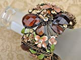 Alilang Womens Antique Golden Tone Brown Peach Floral Flower Draonfly Caged Cuff Bracelet