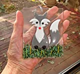 Grey Fox Fused Glass Suncatcher Sun Catcher Ornament