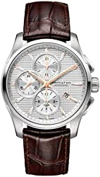 Hamilton Jazzmaster Silver Dial SS Leather Chrono Automatic Male Watch H32596551