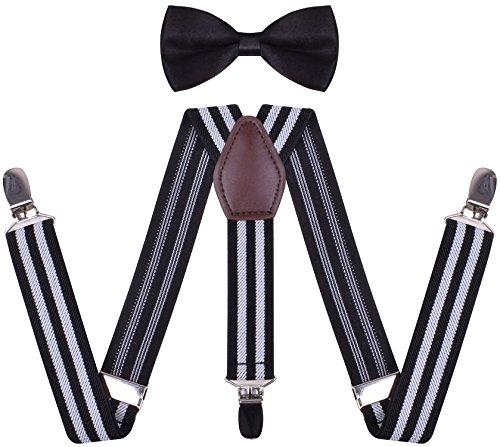 WDSKY Toddler Boys' Bow Tie and Suspenders Set Y Back Adjustable White Black Stripe 26 Inches
