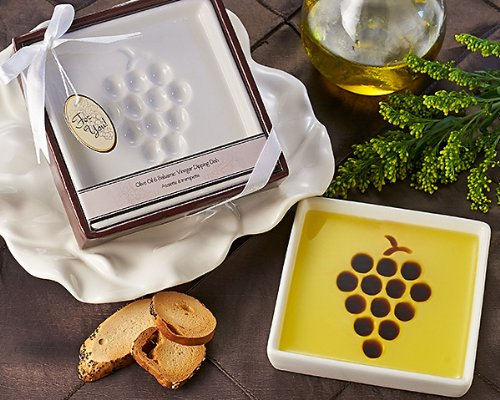 "Artisano Designs ""Vineyard Select Olive Oil and Balsamic Vinegar Dipping Plate 1 Soft edged dish with grape shaped vinegar form provides ratio to achieve taste balance (pour olive oil first, then balsamic vinegar into shape) Vineyard themed clear covered gift box in deep red with subtle grape accented title banner Completed with white satin ribbon and bow and includes matching grape themed ""for you"" gift tag"