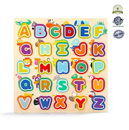 Toddler Alphabet Puzzle Board Wooden ABC Puzzles Birthday for Boys Girls Educational Toys Baby Learning Letter Blocks