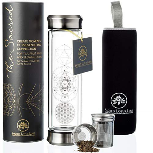 - The Sacred Glass Tea Infuser Bottle Tumbler + Strainer for Loose Leaf, Herbal, Green or Ice Tea. 415ml/14oz Cold Brew Coffee Mug or Fruit Infusion. Hot or Cold Water Travel Bottle. Free Travel Sleeve