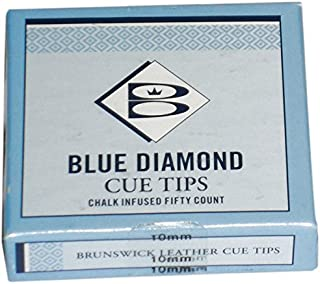 Brunswick Unisexe Diamant Cue Conseils, 9mm, boîte de 50, Bleu 9mm boîte de 50 Cartasport CTD09