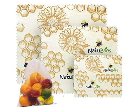 NatuBees Assorted 3 Pack Eco-Friendly & Reusable Food Beeswax Wraps Organic Cotton | Washable & BPA-Free | Extra Mesh Reusable Produce Bag