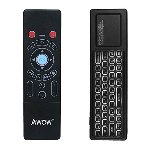 Mini Wireless Keyboard/Air Remote Control/Mouse / Touchpad with Colorful Backlit for Windows Mini PC Stick by AWOW
