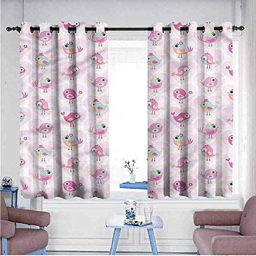 (Mdxizc Polyester Curtain Kids Cartoon Birds in Heart Forms Durable W55 xL63 Suitable for Bedroom,Living,Room,Study, etc.)