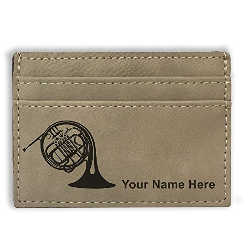 Money Clip Wallet - French Horn - Personalized Engraving Included (Light Brown)