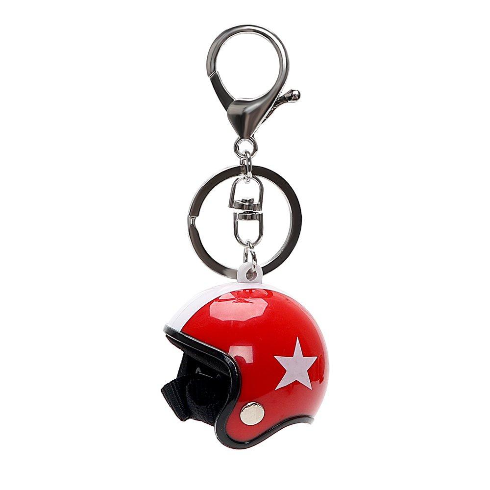 iTimo Voiture Porte-clés, Auto Moto Casques de sécurité d'Modèle Porte-clés Ornement Accessoires (Noir)