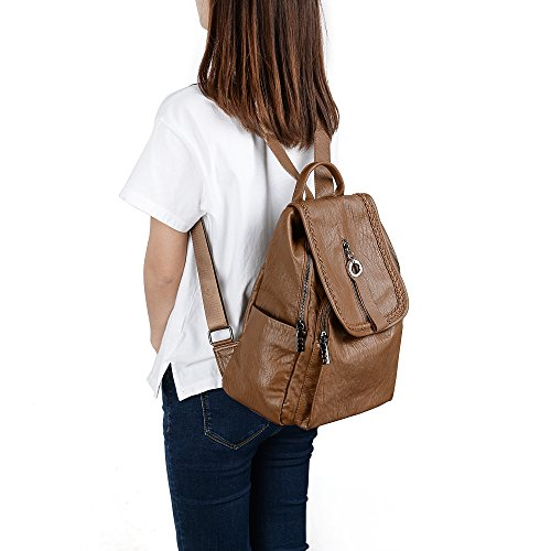 Purse Pockets Women Rucksack UTO Brown Bag Flapover Shoulder Washed Ladies Backpack Zipper PU Leather 0wE11pd4n