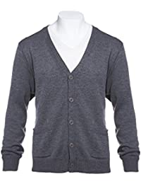 Mens Big and Tall Flat Knit Long Sleeve V-Neck Two Pocket Cardigan Sweater(See More Sizes)