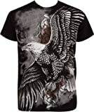 TG455T Flying Eagle Metallic Silver Embossed Short Sleeve Crew Neck Cotton...
