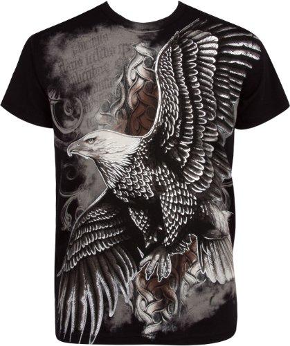 TG455T Flying Eagle Metallic Silver Embossed Short Sleeve Crew Neck Cotton Mens Fashion T-Shirt - Black/X-Large (Designer Outlet New Jersey)