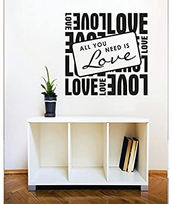 Vinyl Wall Decal Sticker : Love Is All You Need Image Quote Bedroom Bathroom Living Room Picture Art Peel & Stick Mural Size: 30 X 30 Inches Color: Black