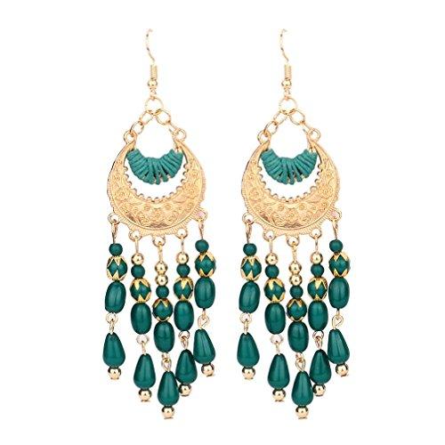 Green Bead Clip Earrings - DENER Women Girls Ladies Bohemian Boho Style Crescent Beads Tassel Ear Clips Stud Hoop Dangle Drop Earrings Eardrop (Green)