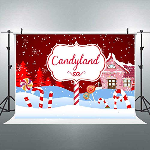 Candy Cane Props (FLASIY Christmas Candyland Themed Photography Backdrop Winter Snowflakes Candy Lollipop Background for Dessert Table Banner 7x5ft Photo Booth Props)