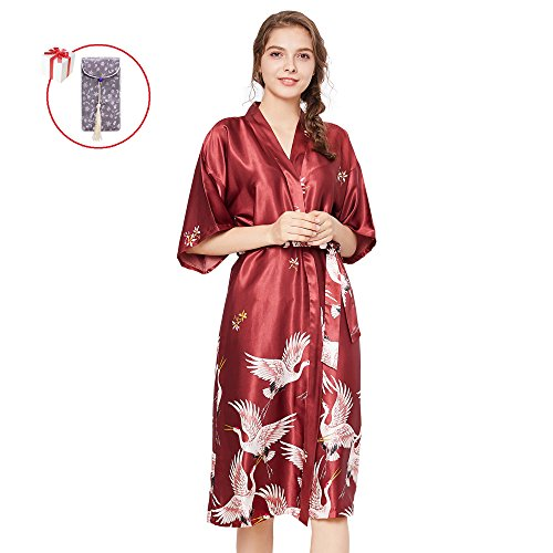Belle Heure Women's Long Kimono Satin Lounge Robe Vintage Silky Nightgown Loungewear S-Plus 3XL But I Vintage Nightgown