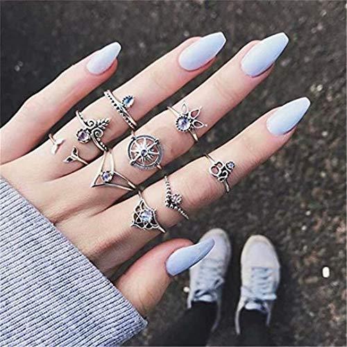 LOSOUL Vintage Knuckle Ring Set for Women Girls Stackable Rings Set Hollow Carved Flowers