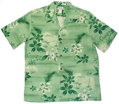Two Palms Mens Moonlight Scenic Shirt Green 4X by Two Palms