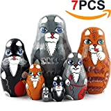 Cat Matryoshka Nesting Dolls - Cat Kitty Figures Doll - Kitten Toys Doll - Toy Cats Set 7 pieces