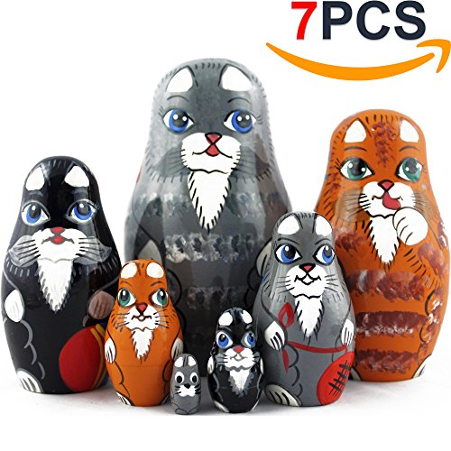 Cat Matryoshka Nesting Dolls - Cat Kitty Figures Doll - Kitten Toys Doll - Toy Cats Set 7 pieces (Kitty Cat Figurine)