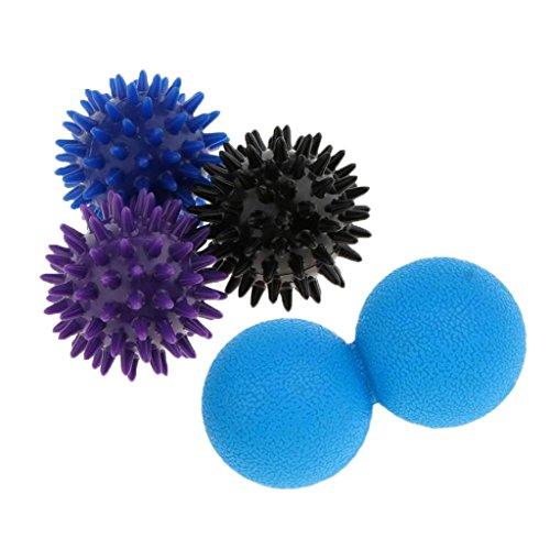 Homyl Set 4pcs Massage Spiky Ball & Double Lacrosse Mobility Myofascial Ball - Spike, Myofascial Release, Trigger Point & Plantar Fasciitis, Reflexology Deep Tissue by Homyl