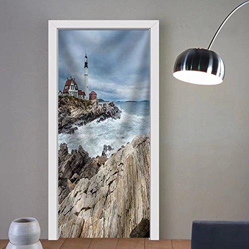 Niasjnfu Chen custom made 3d door stickers Portland Head Lighthouse in Cape Elizabeth Maine Fabric Home Decor For Room Decor 30x79 by Niasjnfu Chen