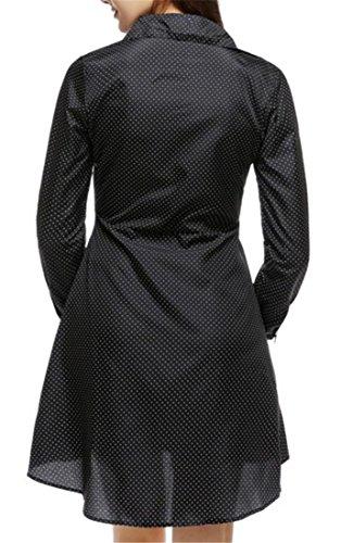 Cruiize Une Ligne À Manches Longues Épinglette Bas Robe T-shirt À Pois Noir Féminin