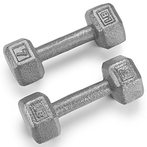 Crown Sporting Goods Pair (2) of Cast Iron Hex Dumbbells with Hammertone Finish (7 LB)