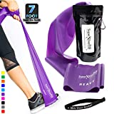 Super Exercise Band Heavy Purple 7 ft. Long Resistance Band. Latex Free Home Gym Fitness Kit for Strength Training, Physical Therapy, Yoga, Pilates or Chair Workouts. Plus Carry Pouch & E-Book.