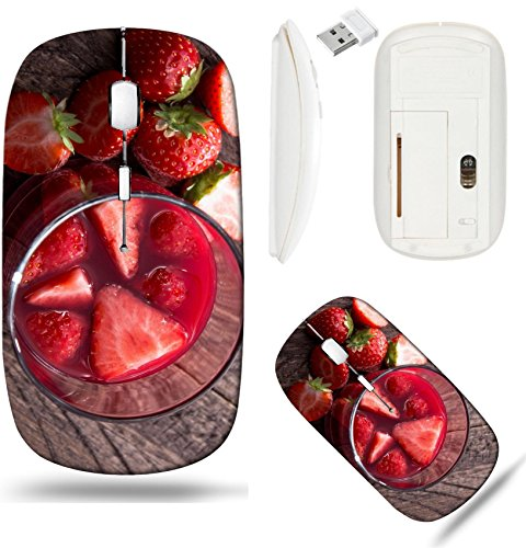 Liili Wireless Mouse White Base Travel 2.4G Wireless Mice with USB Receiver, Click with 1000 DPI for notebook, pc, laptop, computer, mac book Glass with Liqueur and fresh fruits on ()