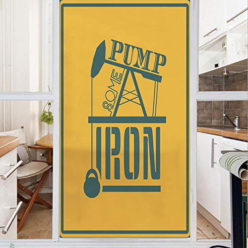 Decorative Window Film,No Glue Frosted Privacy Film,Stained Glass Door Film,Pump Some Iron Quote in Vintage Frame Oil Pump Power Lifting Weight Icons,for Home & Office,23.6In. by 59In Petrol Blue Mari