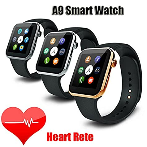 Amazon.com: Smartwatch A9 Bluetooth Smart Watch for Apple iPhone & Samsung Android Phone relogio inteligente reloj Smartphone Watch(silver black): Cell ...