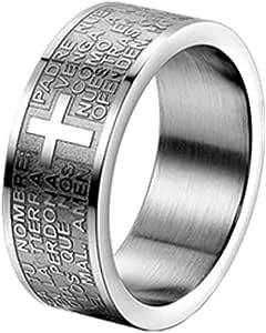 JewelryWe Anillo para Hombre y Mujer, Anillo de Compromiso Cruz Grabado, Anillo Biblia Padre Nuestro Oración Española, Clásico Anillo de Hombre Plateado, Anillo de Boda Regalo Original