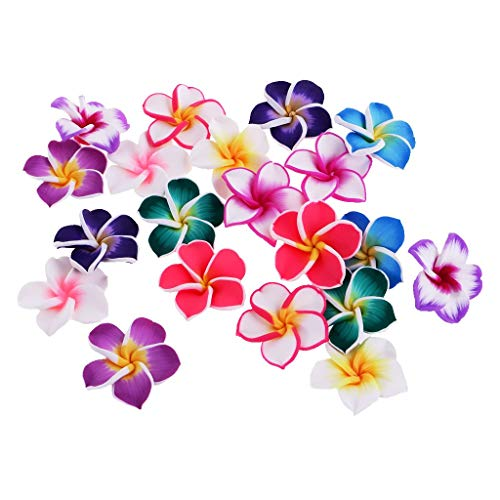 (KODORIA 30pcs Hawaiian Luau Loose Plumeria Polymer Clay Flower Beads Floral Bead Handmade Jewerly Bead DIY Accessories Hawaiian Accessories for Jewellery Making - 35mm)