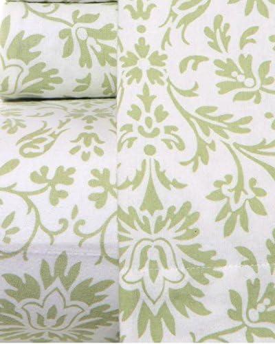 Amazon Com Laura Ashley Flannel Sheet Full Green Home Kitchen