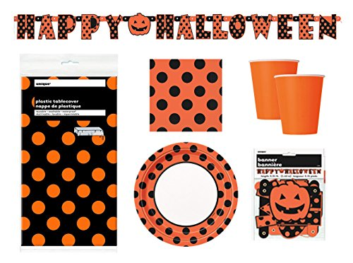 Halloween-Party-Supplies-Pack-Serves-16-Plates-Cups-Napkins-and-Tablecloth-with-Banner-Decoration