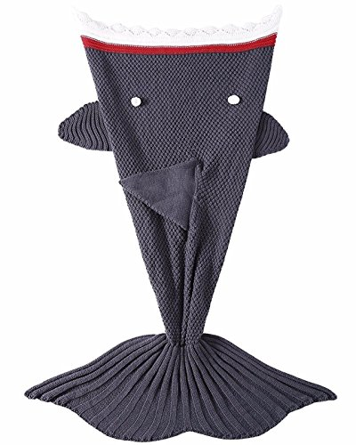 LAGHCAT Mermaid Tail Blanket Knit Crochet and Shark Blanket for Kids,Sleeping Bags (56 X 28 Inch, Dark Gray - Pendant Tail Dragon