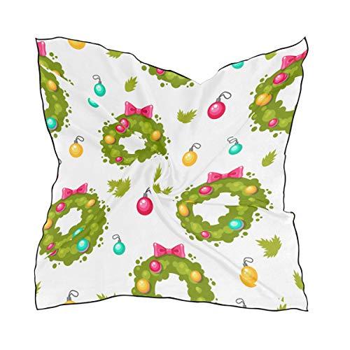 Women's Soft Polyester Silk Square Scarf Holiday Wreath Cartoon Romantic Atmosphere Christmas Design Fashion Print Head & Hair Scarf Neckerchief Accessory-23.6x23.6 Inch
