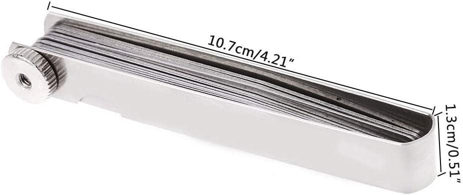 BIlinli 0.05-1mm 20 Blade Feeler Gauge Gage Thickness Measurment Tool Metric Gap Filler Ruler