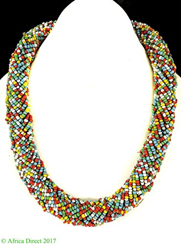Seed Beaded Rope - Beaded Rope Necklace Seed Beads Chad Africa 34 Inch