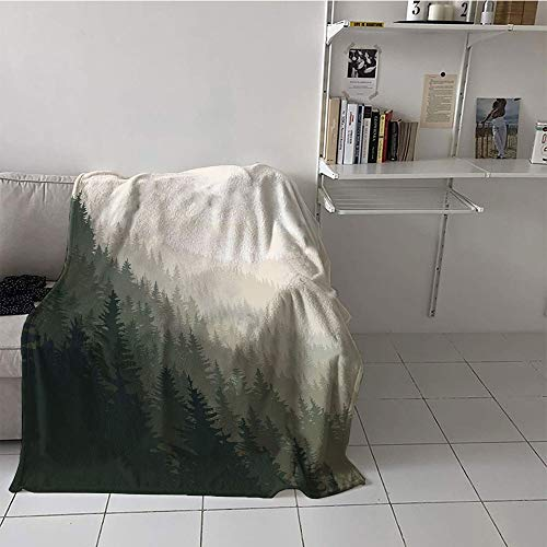 Khaki home Children's Blanket Throw All Season Blanket (60 by 70 Inch,Forest,Northern Parts of The World with Coniferous Trees Scandinavian Woodland,Cream Tan Dark Green