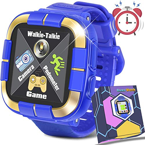 GBD [Walkie Talkie Pro  Kids Games Smart Watch Fitness Tracker for Boys Girls Student School Supplies Birthday Gift Kids Digital Wrist Watch with Pedometer Camera Electronic Learning Toys (Blue)