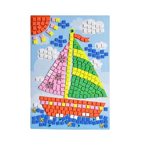 Hot Air Balloon Butterfly Sailboat Giraffe Sunflower Woodpecker Weoxpr Mosaic Sticker EVA DIY Handmade Art Kits for Kids