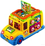 (US) WolVol Activity Yellow School Bus Toy for Kids with Lights and Music, Rides on its own, Passengers Swing side to side, Lots of Functions & Learning the Animals (can turn off the sound while in action)