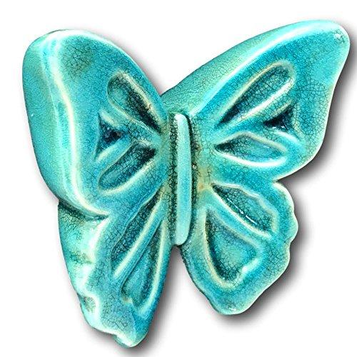 Tag Terracotta Butterfly Garden Yard Art Ornament Sculpture Grazed Aged Look Blue Green (Terra Cotta Sculpture)