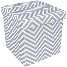 """SONGMICS 15"""" x 15"""" x 15"""" Storage Ottoman Cube / Footrest Stool / Puppy Step / Coffee Table, Holds Up to 660lbs, Linen-like Fabric, Chevron ULSF30V"""