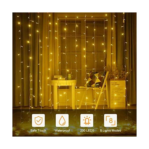 BACKTURE Catena Luminosa Natale, 25M 200 LED Stringa Luci con Adattatore di Alimentazione, 8 Modalità e Luminosità Impermeabile IP44, Decorative per Interno o Esterno Casa Festa Matrimonio 4 spesavip