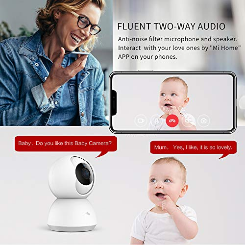 Smart Home Camera, MI 1080P Wireless Surveillance WiFi IP Camera for Indoor Home Security Pet Baby Monitor with HD Night Vision,Pan Tilt,Two-Way Audio,Motion Detection Remote View by ANRAN